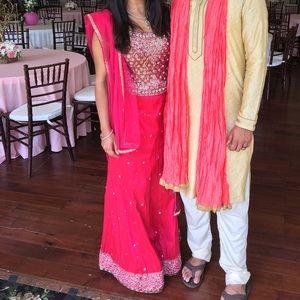 Sparkly Fuchsia Bollywood outfit